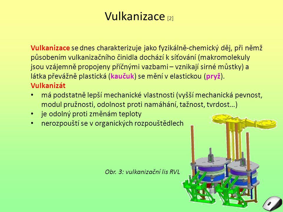 Vulkanizace [2] Vulkanizace se dnes charakterizuje jako fyzikálně-chemický děj, při němž.